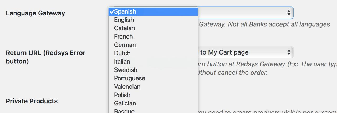 Seleccionar idioma Redsys WooCommerce